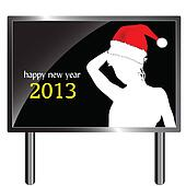 billboard for 2013 year with girl silhouette