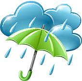rainy weather icon with clouds and umbrella