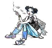 Girl angel hippie smoking cigarette