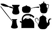 Coffee and tea silhouettes