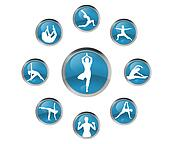 yoga signs in blue