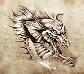 Sketch of tattoo art, dragon over antique paper