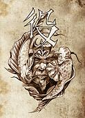 Tattoo art, sketch of a japanese warrior in vintage style