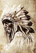 Sketch of tattoo art, indian head, chief, vintage style