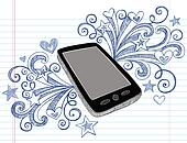 Cell Phone PDA Doodle Vector Design