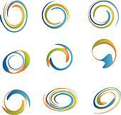 Set of swirly grunge logos