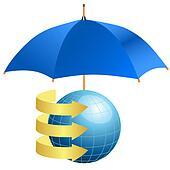 Globe under umbrella concept of defense of information