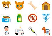 Pets and veterinary icons