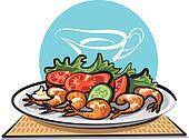 Fried shrimps and vegetables