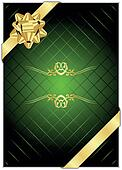 Vector green background with gold b
