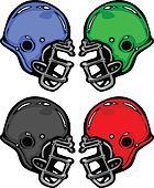 Football Helmets Cartoon Vector Illustration