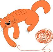 Happy red cat and a ball of wool