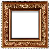 Wooden frame with a retro pattern with gold leaf