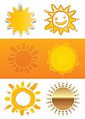 Set of a sun in different styles