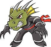 Warrior Ninja Dragon Lizard Vector