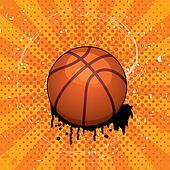 vector grunge illustration of basket ball