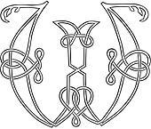 Celtic Knot-work Capital Letter W