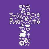 Easter stylized cross isolated on purple