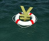 Sign of Japanese yen in terms of rescue floats on water. 3d rendering
