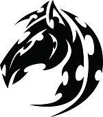 Mustang Stallion Horse Tribal Tattoo Vector Image
