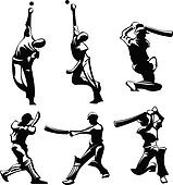 Cricket Male Silhouettes in Athletic Poses