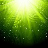 Snow and stars are falling on green rays. EPS 8
