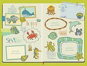 Vector Scrapbook Design Elements - Marine life Set -  hand drawn in notepad