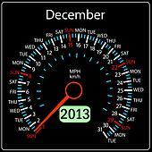 2013 year calendar speedometer car in vector. December.