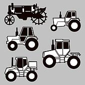 tractor silhouette on gray background,
