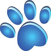 Paw footprint blue glow logo
