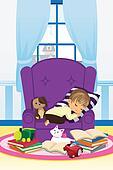 Sleeping boy with books