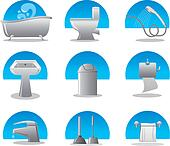 bathroom and toilet web icon set