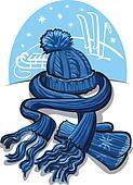 winter clothing, wool scarf, mitten