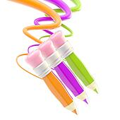Three pencils with colorful trace path