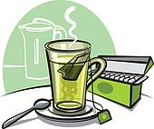 green tea and teabags