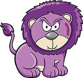 Cute Angry Safari Lion Vector