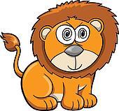 Cute Crazy Safari Lion Vector