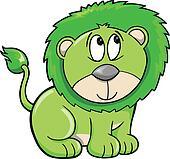 Cute Shy Safari Lion Vector