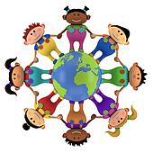 multiethnic kids around globe