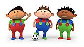 multiethnic kids soccer team
