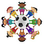 multiethnic kids around a football