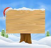 Christmas Santa hat sign background