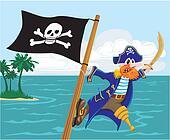 menacing pirate and jolly roger