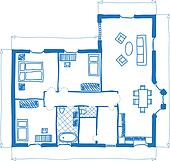 Floor plan of house, doodle style