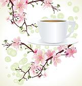 tea cup and blossoming sakura tree )cherry tree) branches ?????