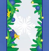 colorful blue sides with christmas tree brunches, decor and gift xmas frame vector image