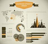 Yellow Vector retro / vintage set of Infographic elements