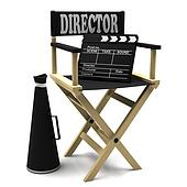 Chair director, movie clapper