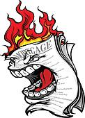 Cartoon Vector Image of a Screaming Mortgage Forclosure on fire representing the Housing Crisis and Financial Meltdown