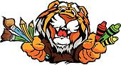 Happy Preschool Tiger Mascot Cartoon Vector Image
